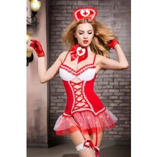 Костюм медсестры Candy Girl Gesabelle (платье, перчатки, стринги, чулки, чокер, головной убор, банты), красно-белый, OS
