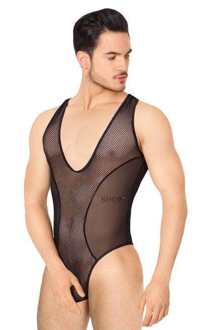 Боди из сетки мужское SoftLine Collection чёрное XL