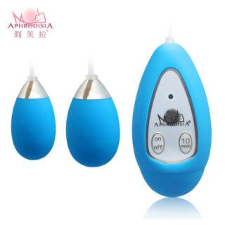 Виброяйцо с пультом Aphrodisia Xtreme-10F Dual Eggs, синий