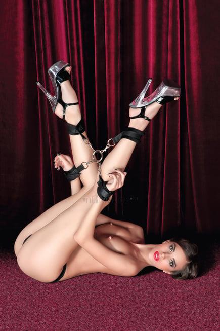 Комплект бондажный Toyfa Theatre (наручники, оковы на ноги, кольцо, 4 фиксирующих ремня), черный