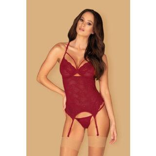 Корсеты Obsessive Ivetta corset, Бордовый, S/M