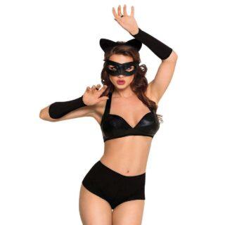 Костюм кошечки SoftLine Collection Catwoman (бюстгальтер, шортики, головной убор, маска и перчатки), чёрный, М