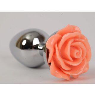 Анальная пробка с розой 4sexdream, 9 см, оранжевый