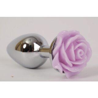 Анальная пробка с розой 4sexdream, 7,6 см, сиреневый