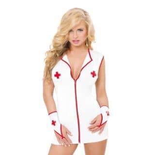 Костюм медсестры SoftLine Collection Sister (платье и перчатки), бело- красный, M/L