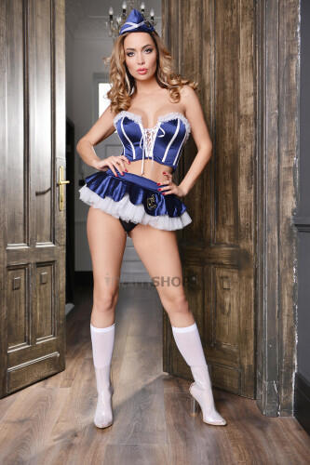 Костюм морячки Elawin (корсет юбка стринги пилотка и чулки) сине-белый XL