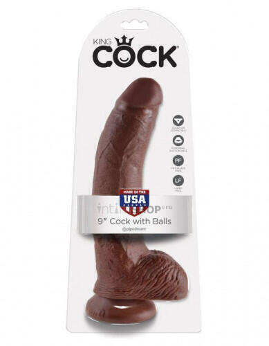 Фаллоимитатор на присоске PipeDream King Cock Cock with Balls, коричневый