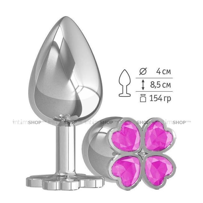 Анальная пробка с розовыми стразами Silver Shamrock, большая