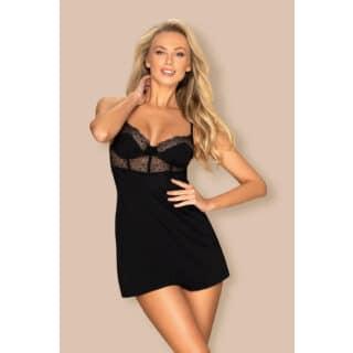 Сорочка Obsessive Sharlotte chemise, Чёрный, S/M