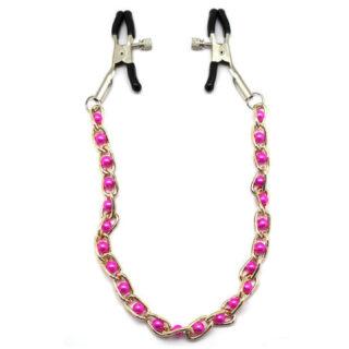 Зажимы для груди с цепочкой и розовыми жемчужинами Eroticon, серебристый