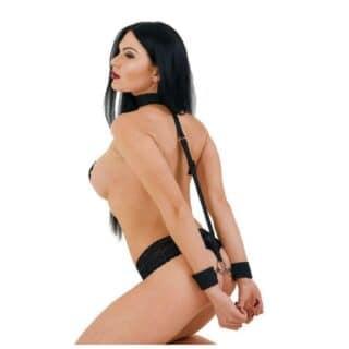 Ошейник с длинной лентой и отстегивающимися наручниками DD Джага-Джага МиФ
