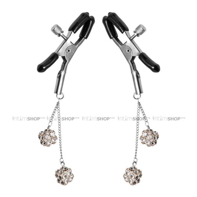 Зажимы на соски XR Brands Ornament Adjustable Nipple Clamps with Jewel Accents, серебристые