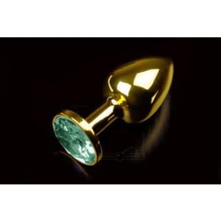 Маленькая анальная пробка с изумрудным кристаллом Пикантные Штучки, золотистый