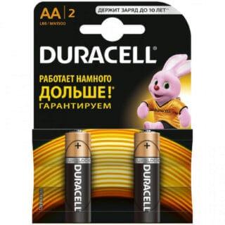 Батарейки пальчиковые Duracell АА/LR6 в блистере 2 шт.