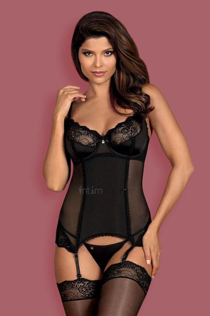Корсеты Obsessive Amallie corset, Чёрный, S/M