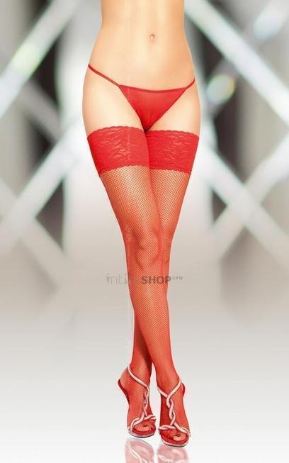 Чулки-Сетка Soft Line с кружевной резинкой красные XL
