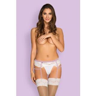 Пояс для чулок Obsessive Lilyanne garter belt, Белый, L/XL