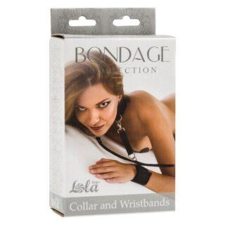 Ошейник с наручниками Lola Toys Bondage Collection Plus Size, черный