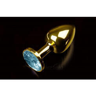 Маленькая анальная пробка с голубым кристаллом Пикантные Штучки, золотистый