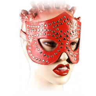 Маска ручной работы Подиум из натуральной кожи, красная