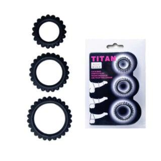Эрекционные кольца Baile Titan, ребристые, 3 штуки в наборе
