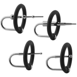 Набор уретральных плагов с кольцами на головку пениса KINK — Ring & Plug Set — Silicone & Stainless Steel Cock Accessory