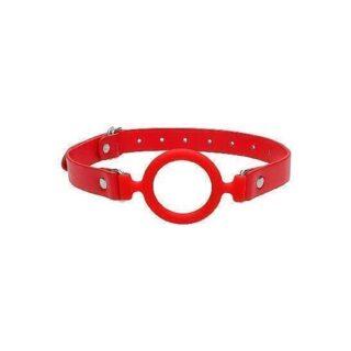 Кляп-кольцо с кожаными ремешками Shots Ouch, красный