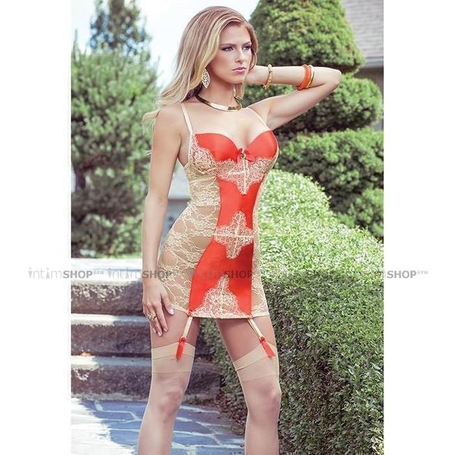 Платье Coquette с Кружевной Спиной и Контрастной Вставкой Sexy Terracottas L