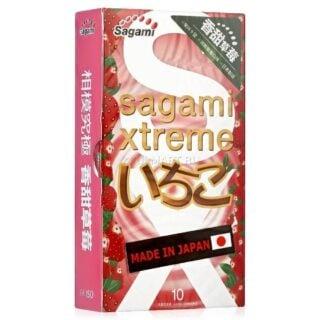 Презервативы SAGAMI Xtreme Strawberry 10шт. латексные со вкусом клубники