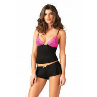 Комплект Leg Avenue Lace & Jersey cami & shorts, L