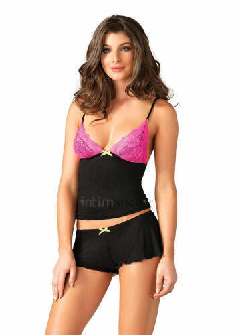 Комплект Leg Avenue - Lace & Jersey cami & shorts L