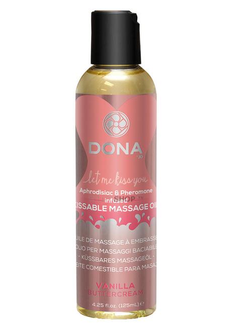 Вкусовое массажное масло с феромонами DONA Kissable Massage Oil Vanilla Buttercream Ванильный крем 125 мл