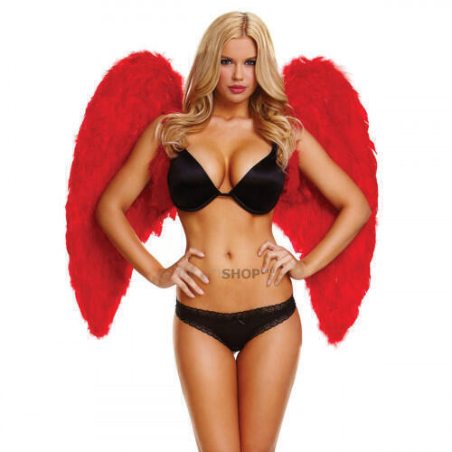 Большие крылья из натуральных перьев Ann Devine Red Love, красный