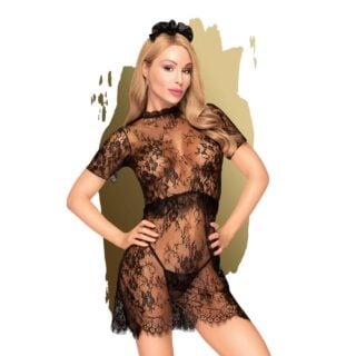 Комплект (эротическое платье, трусики, шиньон) Penthouse Poison Cookie черный, L/XL