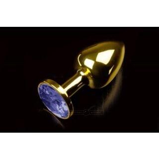 Маленькая анальная пробка с синим кристаллом Пикантные Штучки, золотистый