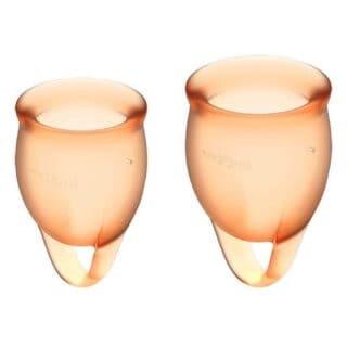 Менструальные чаши Satisfyer Feel Confident, 2 шт в наборе, оранжевый