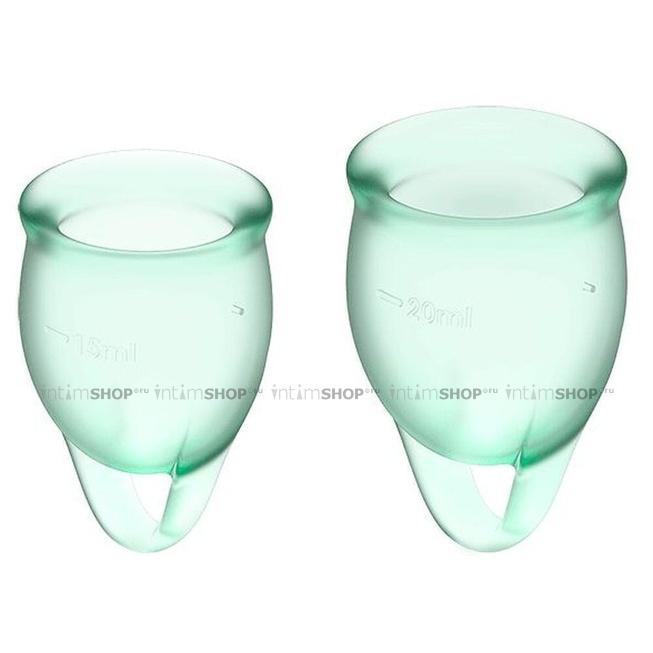 Менструальные чаши Satisfyer Feel Confident 2 шт в наборе светло-зелёный