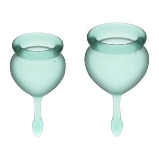 Менструальные чаши Satisfyer Feel Good, 2 шт в наборе, зелёный