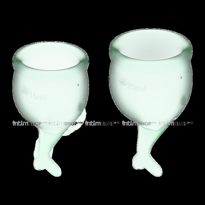 Менструальные чаши Satisfyer Feel Secure, 2 шт в наборе, светло-зелёный