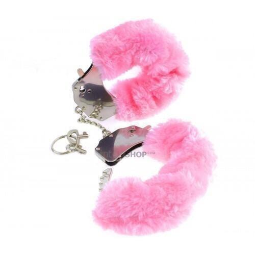Наручники металлические Pipedream Furry Cuffs с мехом розовые