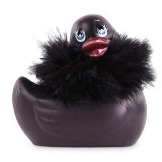 Вибратор-уточка Big Teaze Toys I Rub My Duckie 2.0, с мехом, черный
