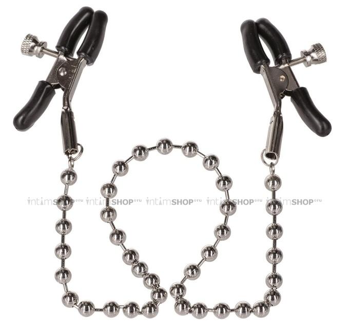 Зажимы на соски California Exotic Novelties Nipple Clamps с цепью серебристые